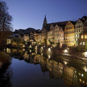 Tübingen, Neckar, Neckarfront bei Nacht